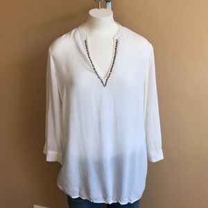 Nicole by Nicole Miller Tunic w Beads White Size M